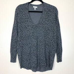 10964e014d5d Joie Chyanne Leopard cashmere blend sweater gray